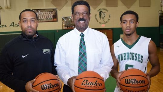 Alabama State basketball signee Jacoby Ross (right) played for his grandfather, head coach Charles Smith, and uncle, assistant Kedric Smith, at Peabody Magnet School in Louisiana.