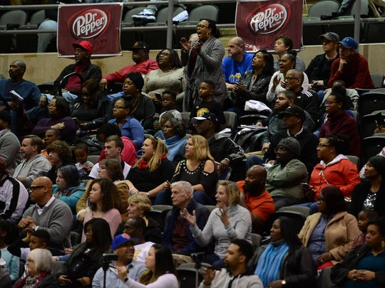 Fans cheer on their teams during the Governor's Challenge at the Wicomico Civic Center on Tuesday, Dec. 26, 2017.