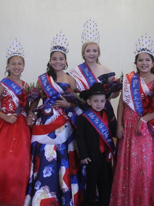2020 Fourth of July Royalty (LtoR) Fourth of July Princess Jolie Casas,  Little Miss Fourth of July is Mika Kai Lerma, Miss Fourth of July McKenzie Pierce, Little Mister Fourth of July Gabriel Moncada, and Junior Miss Fourth of July Destinee Hinojosa.