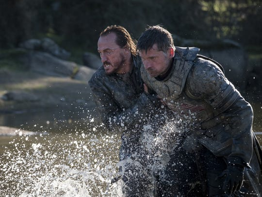 Even after nearly drowning, Bronn (Jerome Flynn), left,
