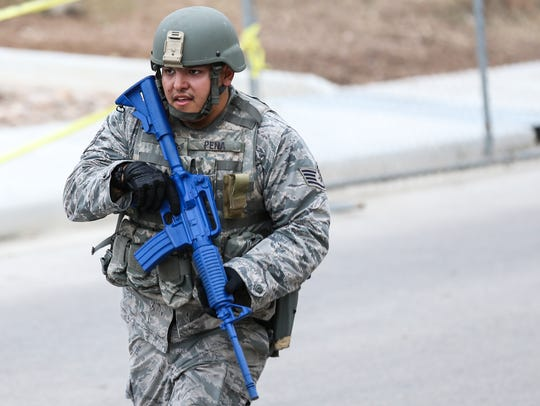 A service member takes part in an active shooter exercise Thursday at Goodfellow Air Force Base.