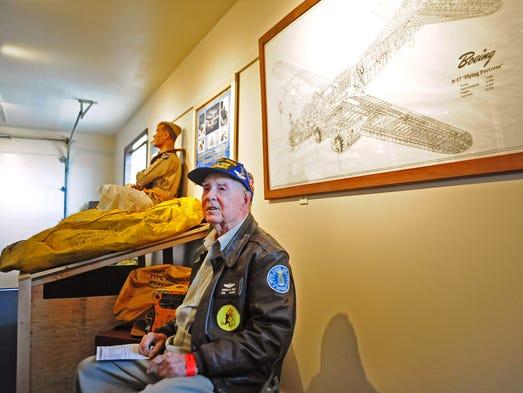 Former B-17 pilot Stanton Rickey, of Dallas, inside