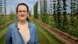 Rutgers doctoral candidate in plant biology Megan Muehlbauer co-directs the Rutgers hops study and oversees the trial hops plot at Snyder Research Farm in Pittstown.