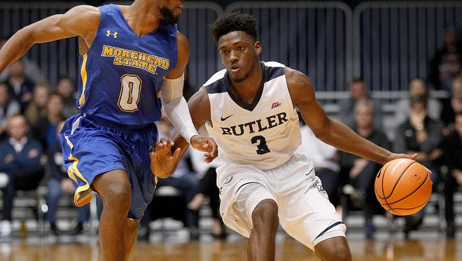 Butler Bulldogs guard Kamar Baldwin (3) looks to drive on Morehead State Eagles guard A.J. Hicks (0) in the first half of their game at Hinkle Fieldhouse Wednesday, December 19, 2017. 1