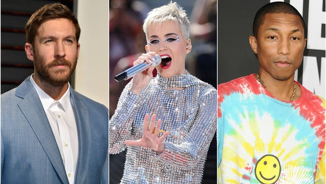 Calvin Harris, Katy Perry and Pharrell are all featured in the 'Feels' music video.
