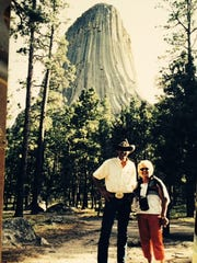 Richard and Lynda Petty spent as much time as they could at their retreat in Wyoming. Here, they are seen at Devils Tower in the 1990s.