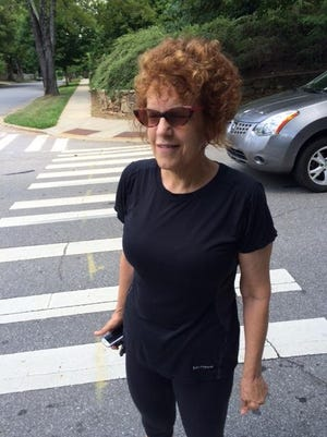 Cynthia Neal is on the mend after a bicyclist ran her over in this Kimberly Avenue crosswalk and then left the scene.
