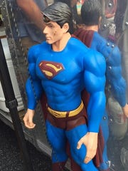 Superman stands watch at the Eggs N' Bacon Wagon.