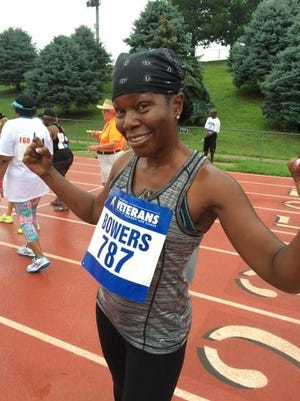 Linda Bowers gets ready to run at the National Veterans Golden Age Games held this August in Omaha, Nebraska.