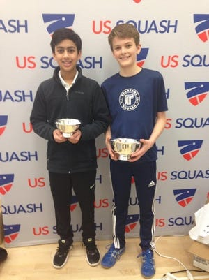 Rohan Iyer of Clifton, left, and J.P. Tew of Loveland took second and first place respectively in the national championship in the MidAtlantic Junior Squash Championshpi Feb. 6-7.