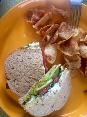 Curry-spiced avocado is layered with cucumber, yogurt cheese, cilantro and lime chutney in the Bombay Avocado Sandwich at Bergamot Market and Cafe.