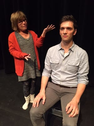 "Michelle Kellrooney, left, and Peter Tolly rehearse a scene for UW-Fox Valley's production of ""Marjorie Prime."""