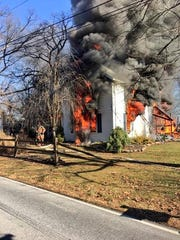 Fire engulfs a home in the 800 block of Buck Road in Conewago Township.