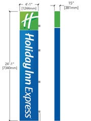 A design shows what the proposed illuminated signs on the new downtown Holiday Inn Express will look like. The signs will attach to the side of the building once complete.