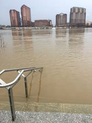 The stairway to nowhere at Smale Riverfront Park in