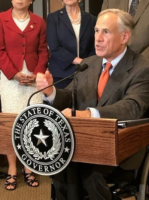Texas Gov. Greg Abbott explains school safety measures in Dallas on May 30, 2018.
