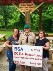 Allen Landis, a 14-year-old Boy Scout from Hanover, built a concrete-based 12x24 pavilion and six picnic tables and gave a $1,700 check to the rescue with the help of sponsors, donors, friends and family.