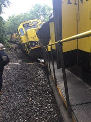 A train bound for Binghamton derailed early Thursday morning in Deposit after heavy rain washed out a bridge.