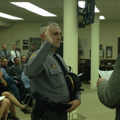 Hanover Borough Police Chief Chad Martin is sworn into