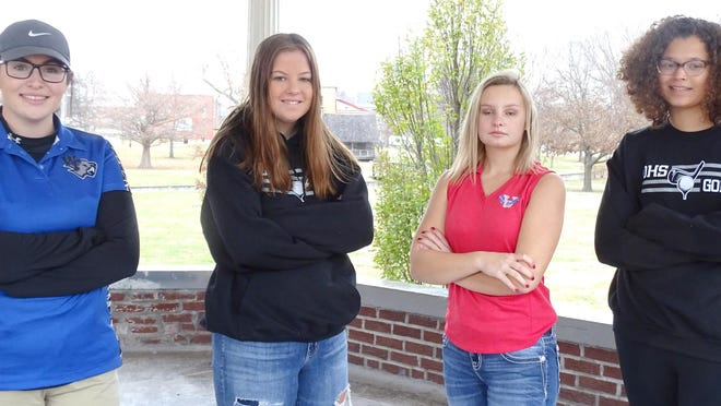 The 2020 Ottawa Herald All-area girls golf team members are Virginia Wright, West Franklin; Shai Aho, Ottawa; Kaylie Reese, Wellsville; Aubrey Vasquez, Ottawa. Not pictured is Riley Titus, Ottawa.