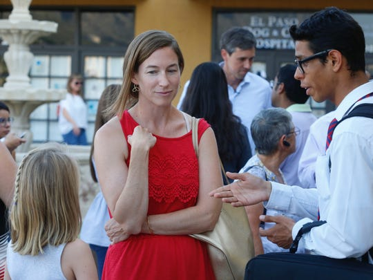 "Amy O'Rourke, the wife of U.S. Rep. Beto O'Rourke, spends some time with supporters before joining O'Rourke inside Ode Brewery in El Paso for the ""Rally for Relief"" on Aug. 31."