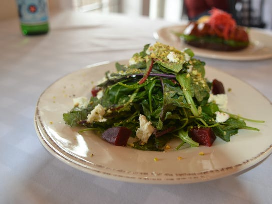 The roasted beat salad with arugula, french feta cheese,