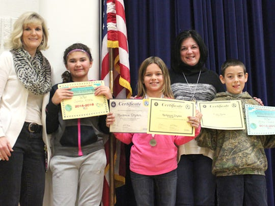 Students in grades 4, 5 and 6 in the Southern York County School District recently participated in this year's National Geography Bee. Pictured from Friendship Elementary are, from left, Lisa Boyer, assistant principal; Sienna Kopp, second place; Mackenzie Dryden, first place; Beth Koontz, principal; and Alex Stare, third place.