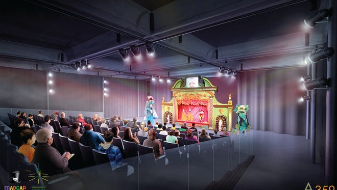 An architect's rendering of the puppet theater that will be a centerpiece of the new Madcap Education Center.  The building is located at the intersection of Harrison, Epworth and Urwiler avenues in Westwood. In addition to the theater, the 20,000 sw. ft. building will house offices and variety of education spaces. The projected opening date is mid-2018.