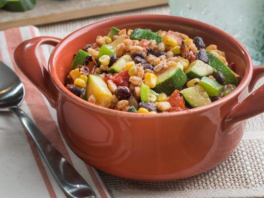 dinner in 30: vegetarian farro skillet