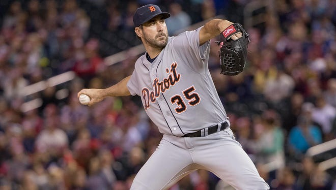 Tigers pitcher Justin Verlander (35) delivers a pitch in the first inning of the second game Thursday in Minneapolis.