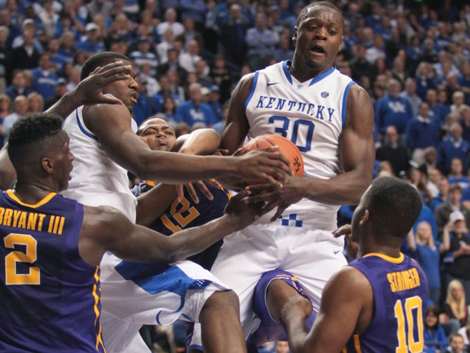 Kentucky's Julius Randle had a game-high 15 rebounds to go with hitting the winning shot in overtime as the Wildcats beat LSU 77-76 at Rupp Arena.