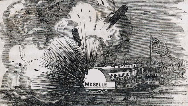 The steamboat Moselle exploded near Cincinnati on April 25, 1838, killing nearly 200 people.