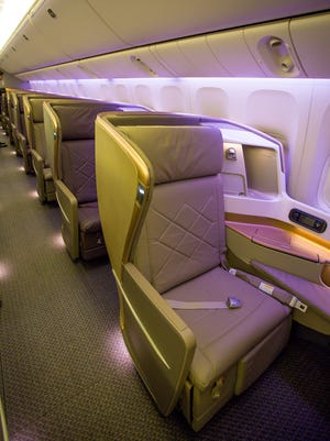 A business-class seat in the first Singapore Airlines Boeing 777-300ER to be configured with its all-new interior.