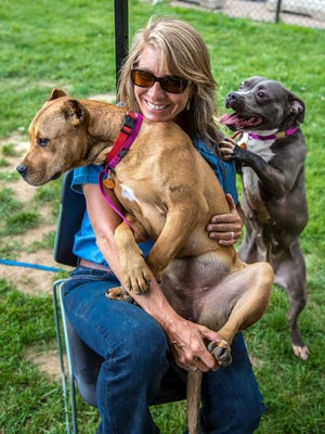 """Aimee Sadler teaches animal shelters how to do play groups with their dogs in the PBS series """"Shelter Me."""" Instead of keeping the dogs isolated in kennels, the dogs get to play and learn from each other."""