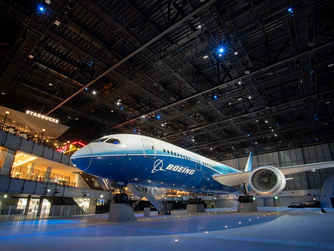 The first Boeing 787-8 Dreamliner test plane inside
