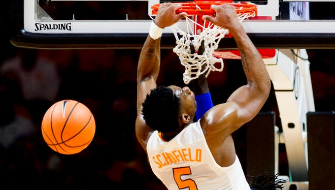 Tennessee forward Admiral Schofield (5) attempts a dunk during a game between Tennessee and Kentucky at Thompson-Boling Arena in Knoxville, Tennessee on Saturday, January 6, 2018.