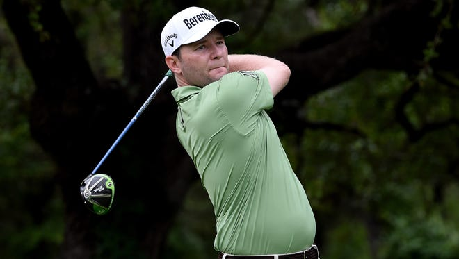 Branden Grace of South Africa plays his shot from the sixth tee during the first round of the Valero Texas Open at TPC San Antonio AT&T Oaks Course on April 20, 2017 in San Antonio, Texas.