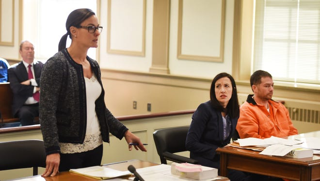 Morris County Assistant Prosecutor Erin Callahan (L) speaks to Judge Thomas Critchley during a detention hearing for Richard Spielman.