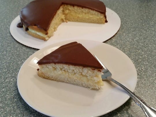 Boston Cream Pie, made with a recipe once served by WFISD junior high and high school cafeterias.