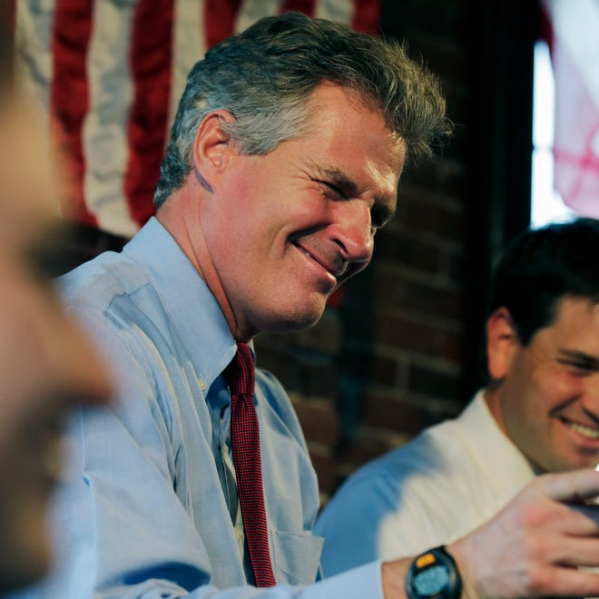 New Hampshire Republican Senate candidate Scott Brown, left, winks during a campaign stop with Sen. Marco Rubio, R-Fla., in Derry, N.H., on Oct. 7.