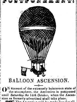 Staunton Spectator advertisement announcing the rescheduling of a balloon ascension in Staunton in 1843.