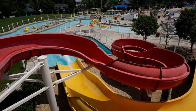 View from the top of the slides at Pollock Pool.