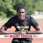 Rai Benjamin, shown last year on the Mount Vernon track, has decided not to compete in the 2016 Olympics due to injury. He is aiming for 2020.