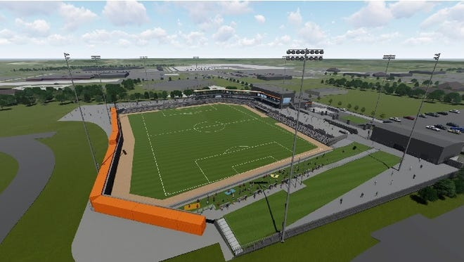 A conceptual design for the Green Bay Bullfrogs new stadium in Ashwaubenon.