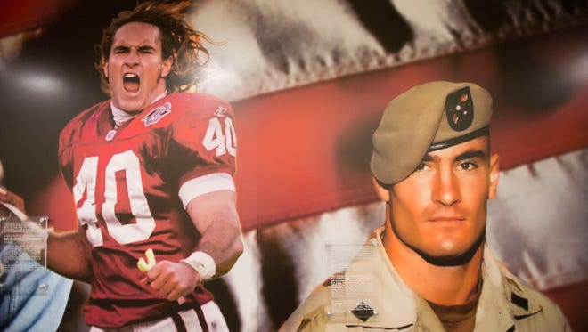 A mural on the wall of the Pat Tillman Veterans Center at Memorial Union Building on ASU's Tempe Campus.