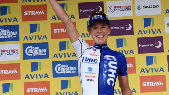 Hannah Barnes, of Asheville, wins the final stage of Women's Tour of Britain on Sunday,  June 21.