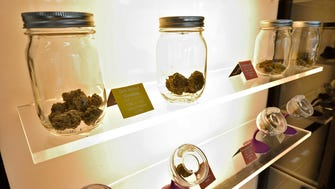 Medical cannabis on display at the Harmony Dispensary in Secaucus, Monday, June 18, 2018.