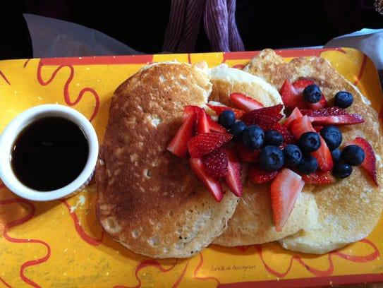 Pancakes with date honey at Art Cafe in Nyack.