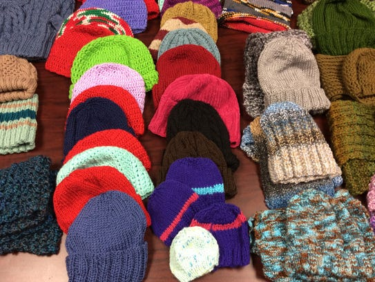 We have hats and hat-and-scarf sets on hand.