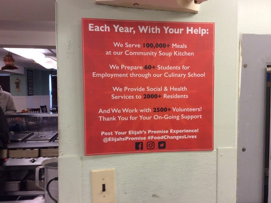 This plaque hangs in the kitchen at Elijah's Promise